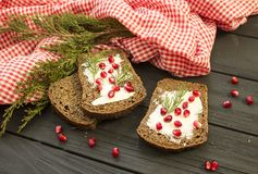 Black bread with grenades berries on a black wooden background. Christmas food, Christmas decorations with lemon, juniper, branch. Red berries Stock Photography