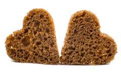 Black bread heart Royalty Free Stock Image