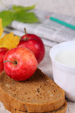 Black bread with milk and apples Stock Photography