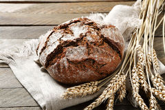 Black bread on a napkin Stock Photos