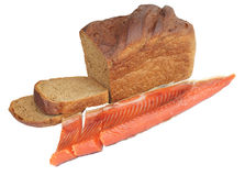 Black bread and red fish Stock Images