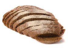 Black bread rye. On a white background isolation Royalty Free Stock Photos