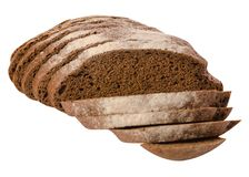 Black bread rye. On a white background isolation Royalty Free Stock Photography