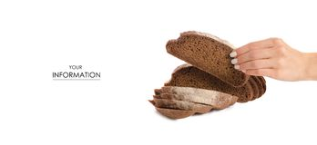 Black bread rye on hand pattern. On a white background isolation Royalty Free Stock Photo