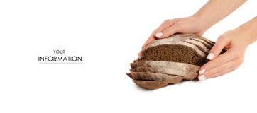 Black bread rye on hand pattern. On a white background isolation Stock Images