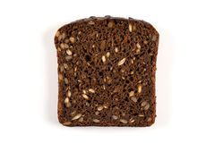 Black bread slice isolated Royalty Free Stock Images