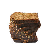 Black bread slices stack isolated Stock Photos