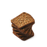 Black bread slices stack isolated Stock Image