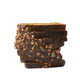 Black bread slices stack isolated Royalty Free Stock Photo