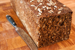 Black bread with sunflower seeds Stock Image