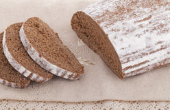 Black bread on the table. Fresh baked black bread on the table Royalty Free Stock Photography