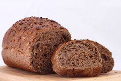 Black bread on table with two slice Stock Photo