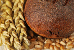 Black bread. With wheat ears stock image
