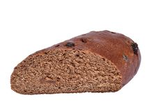 Black bread on a white background stock image