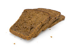 Black bread on a white Stock Images