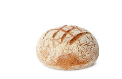Black bread on white. Loaf of whole wheat black bread isolated on white background Stock Photos