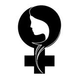 Black breast cancer ribon with woman. Symbol image design Stock Photos