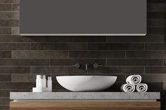 Black brick bathroom sink. White bathroom sink near a black brick wall with a large mirror hanging above it. Front view. 3d rendering vector illustration