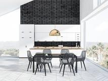 Black brick kitchen interior stock illustration