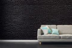 Black brick living room royalty free illustration