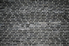 Black brick wall. A black brick wall - it looks like a black and white photo, but in fact it is color royalty free stock images