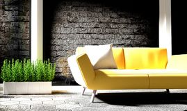 Black brick wall with concrete floor has sofa and plants. 3D rendering. Mock up Black brick wall with concrete floor has sofa and plants. 3D rendering royalty free illustration