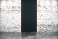 Black brick wall opening and concrete floor. Close up royalty free illustration