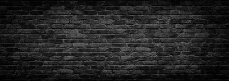 Black brick wall panoramic background for design Royalty Free Stock Images