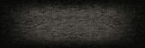 Black brick wall panoramic background. Black brick wall background. Wide high resolution panorama of brickwork Royalty Free Stock Photography