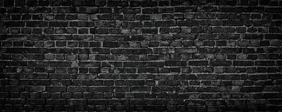 Black Brick Wall Of Panoramic View In High Resolution Stock Image