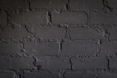 Black brick wall, urban exterior, ancient weathered surface royalty free stock photography