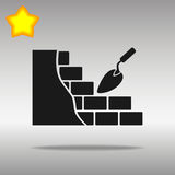 Black brickwork and building trowel Icon button logo symbol concept high quality Stock Image