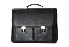 Black briefcase. Isolated on white background royalty free stock image