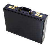 Black briefcase. Standard black briefcase. All on white background royalty free stock images