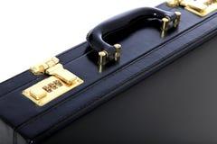 Black briefcase. Standard black briefcase. All on white background stock image