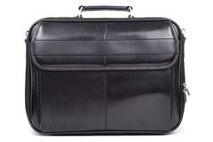 Black Briefcase. Black leather briefcase isolated over white background Stock Photos