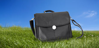 Black briefcase on the green field Stock Image