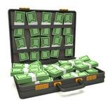 Black briefcase of money. 3d illustration Stock Photos