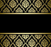 Black bright card with gold pattern - vector Stock Image