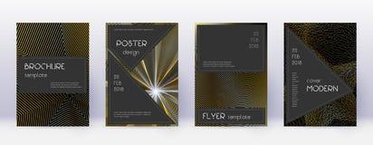 Black brochure design template set. Gold abstract stock illustration