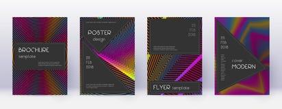 Black brochure design template set. Rainbow abstra. Ct lines on wine red background. Admirable brochure design. Elegant catalog, poster, book template etc vector illustration