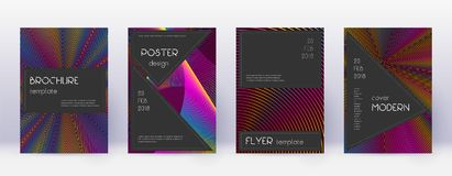Black brochure design template set. Rainbow abstra. Ct lines on wine red background. Admirable brochure design. Energetic catalog, poster, book template etc royalty free illustration