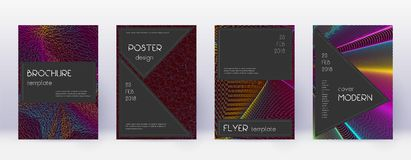 Black brochure design template set. Rainbow abstra. Ct lines on wine red background. Admirable brochure design. Exquisite catalog, poster, book template etc royalty free illustration