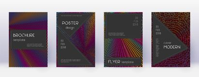 Black brochure design template set. Rainbow abstra. Ct lines on wine red background. Admirable brochure design. Extraordinary catalog, poster, book template etc royalty free illustration