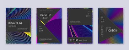 Black brochure design template set. Rainbow abstra. Ct lines on dark blue background. Admirable brochure design. Adorable catalog, poster, book template etc royalty free illustration
