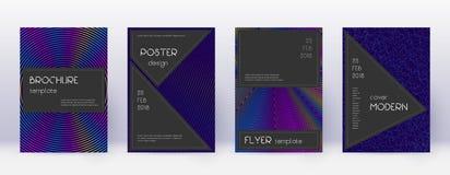 Black brochure design template set. Rainbow abstra. Ct lines on dark blue background. Admirable brochure design. Authentic catalog, poster, book template etc stock illustration
