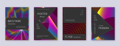 Black brochure design template set. Rainbow abstra. Ct lines on wine red background. Admirable brochure design. Divine catalog, poster, book template etc vector illustration