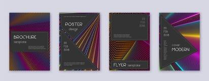 Black brochure design template set. Rainbow abstra. Ct lines on wine red background. Admirable brochure design. Decent catalog, poster, book template etc vector illustration