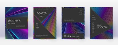 Black brochure design template set. Rainbow abstra. Ct lines on dark blue background. Admirable brochure design. Bizarre catalog, poster, book template etc royalty free illustration
