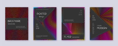 Black brochure design template set. Rainbow abstra. Ct lines on wine red background. Admirable brochure design. Delicate catalog, poster, book template etc vector illustration